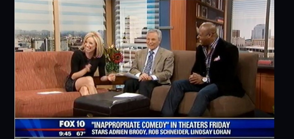 "On The Morning show at FOX 10 Arizona to promote the release of his upcoming film ""INAPPROPRIATE COMEDY"". Starring ""Adrian Brody, Lindsay Lohan, Rob Schneider, Michelle Rodriguez & Vince Offer""."